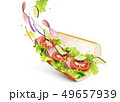 Submarine sandwich with fillings 49657939