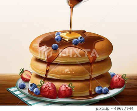 Souffle pancake with dripping honey 49657944