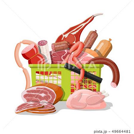 Shopping supermarket basket full of meat. 49664481