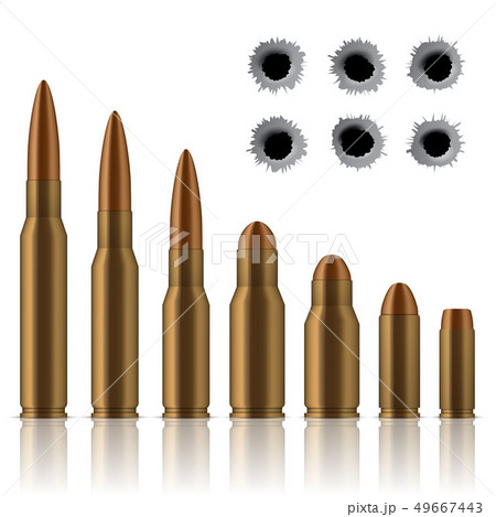Creative illustration of realistic shot gun bullets, holes isolated on background. Art design 49667443
