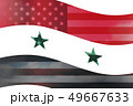 Syria country overlay with USA flag 49667633