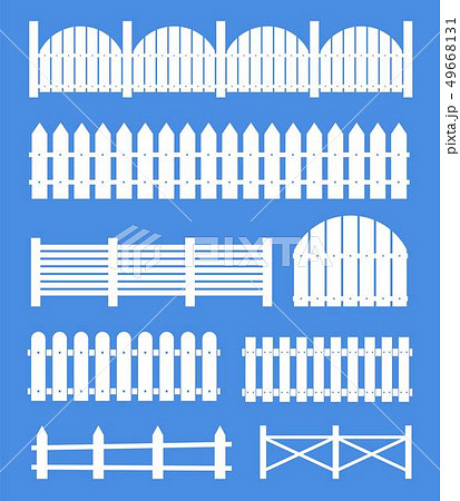 Creative illustration of rural wooden fences, pickets isolated on background. Art design. Garden 49668131