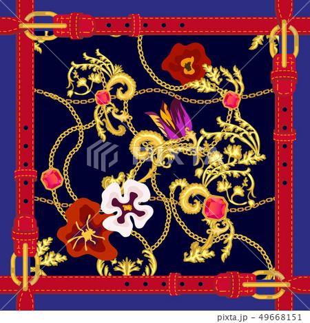 Silk scarf with fashion elements.  49668151