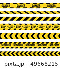 Creative illustration of black and yellow police stripe border. Set of danger caution seamless tapes 49668215