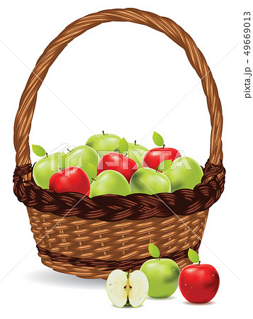 Basket of Red and Green Apples 49669013