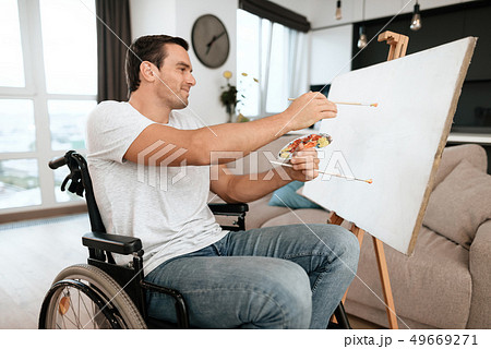 Handsome Disabled Young Man Painting Picture 49669271