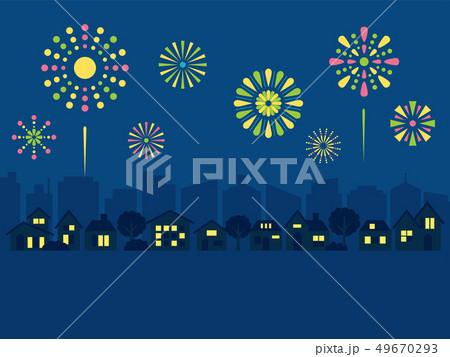 花火と街並み 49670293