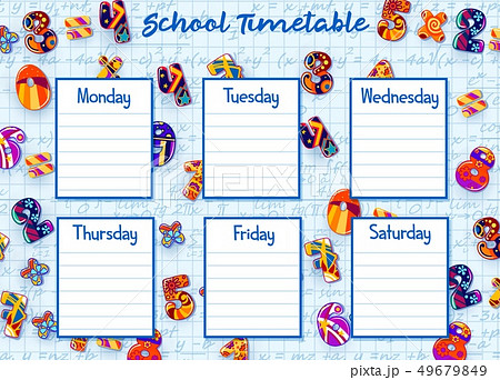 School timetable, weekly schedule with numbers 49679849