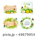 Set of spring sale banners with flowers and cards. 49679954