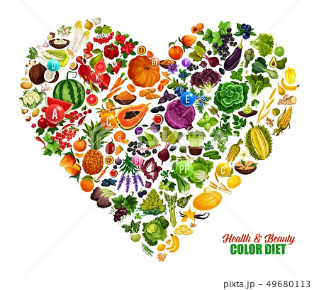 Color diet heart, healthy food nutrition 49680113