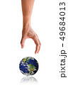 Isolated hand reaching down to the earth 49684013
