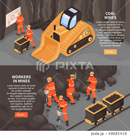 Miners Horizontal Banners Set 49685419