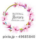 Natural vintage greeting card with pink magnolia. 49685840