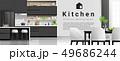 Modern black and white kitchen background 49686244