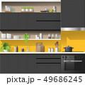 Modern black kitchen with yellow background 49686245