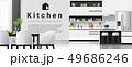 Modern black and white kitchen background 49686246