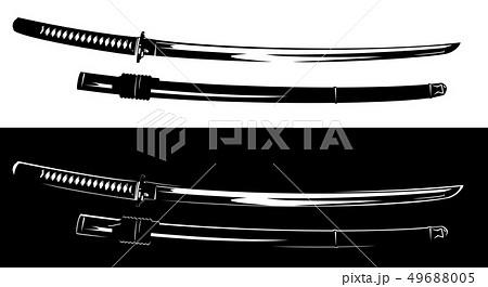 black and white samurai katana sword vector design 49688005
