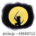 月の闇から狙う猫の影 49689712