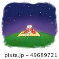 夜空(星空)を眺める犬 49689721