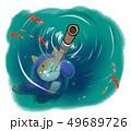 水中に隠れる猫の忍者 49689726