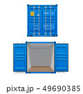 Realistic set of bright blue cargo containers.    49690385