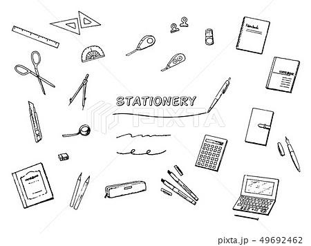 文具 ステーショナリー モノクロペン画イラスト 49692462