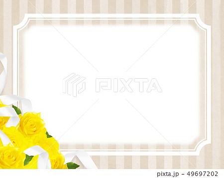 背景-バラ-黄色-父の日-ベージュ-ストライプ-フレーム 49697202