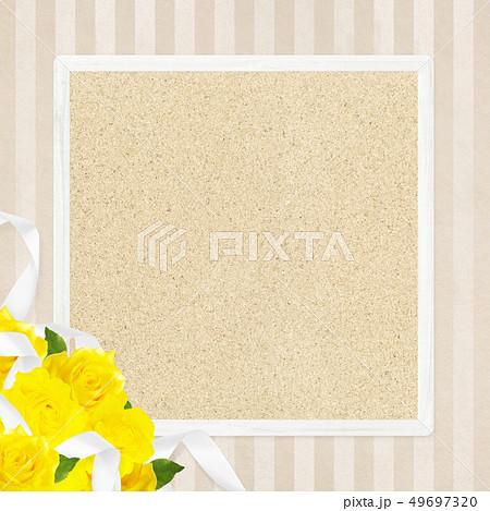 背景-バラ-黄色-父の日-ベージュ-フレーム-コルクボード 49697320