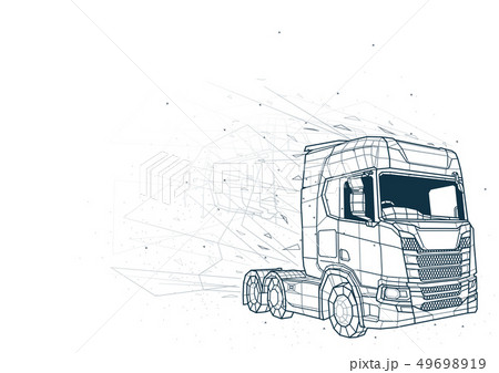 Abstract Truck Low Poly Wireframe 49698919