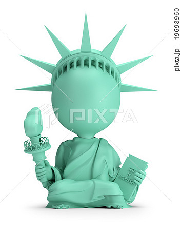 3d small people - meditating Statue of Liberty 49698960