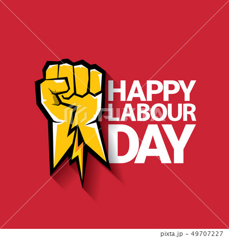 Happy labour day vector label with strong orange fist on red background. labor day background or 49707227