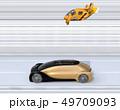 配車中の自動運転車とレスキュードローンのイメージ 49709093