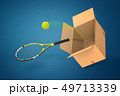 3d rendering of tennis racket and tennis ball falling out of cardboard box on blue background. 49713339