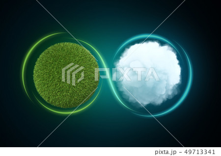 3d rendering of a sphere covered in green lawn next to a white round fluffy cloud with a light line 49713341