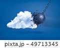 3d rendering of metal chained ball crashing white cloud on blue background 49713345