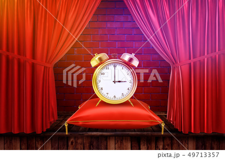 3d rendering of an alarm clock on a cushion with red curtains and red brick wall background 49713357