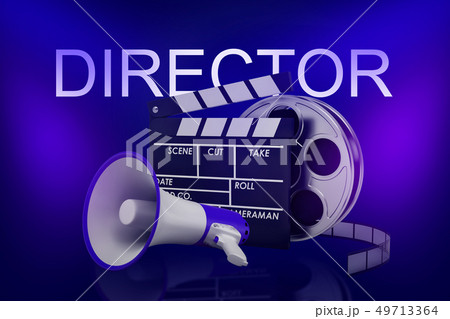 3d rendering of movie clapper, film reel and megaphone with DIRECTOR sign above on neon blue 49713364