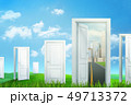 3d rendering of white doorways from city to the country on green grass and blue sky background 49713372