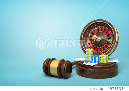 3d rendering of casino roulette, chips and playing cards on round wooden block and brown wooden 49713384