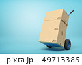 3d rendering of cardboard boxes on a hand truck on blue background 49713385