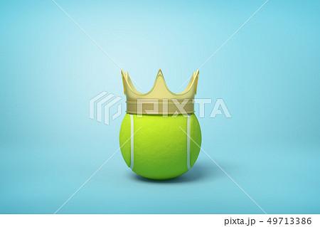 3d rendering of tennis ball wearing golden crown on light blue background. 49713386