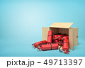 3d rendering of cardboard box lying sidelong full of red fire extinguishers on blue background. 49713397