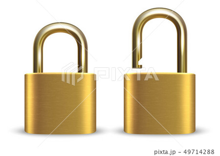 Vector 3d Realistic Closed and Opened Metal Golden Padlock Icon Set Closeup Isolated on White 49714288