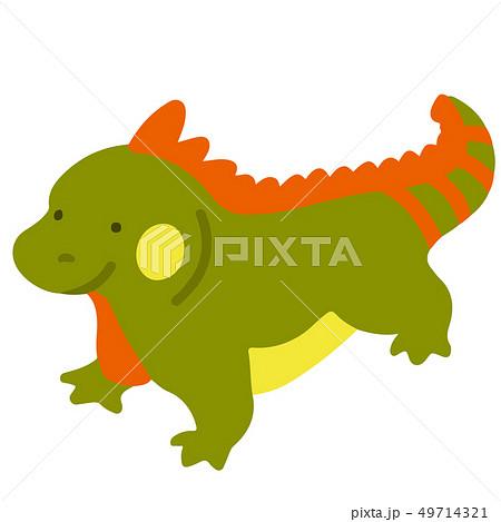 シンプルで可愛い緑色とオレンジ色のイグアナのイラスト アウトラインなし 49714321