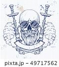 Sketch hipster skull 49717562