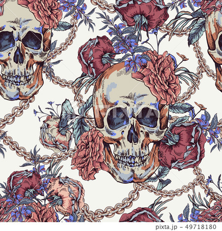 Vector Skull with roses, chains and wildflowers 49718180