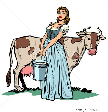 a woman milker cow bucket milk. agriculture village life 49718828