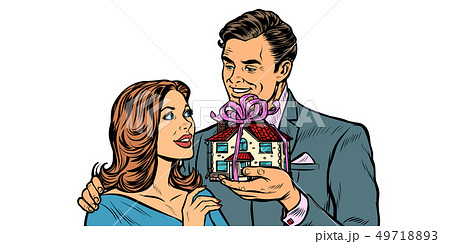 Husband and wife. House as a gift isolate on white background 49718893