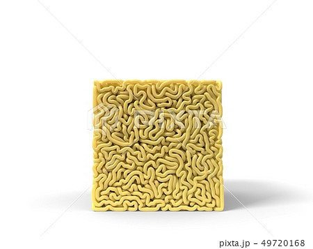 noodle in shape of cube. curly spaghetti for cooking. 3d illustration 49720168