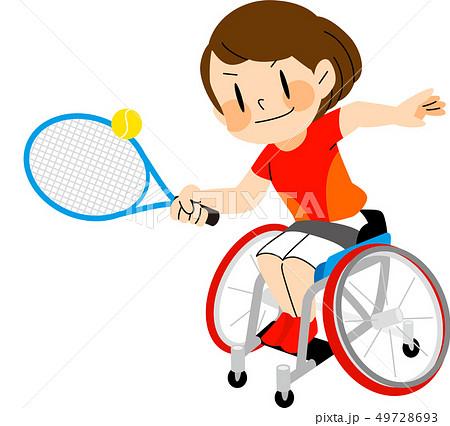 パラスポーツ 車いすテニス イラスト 49728693